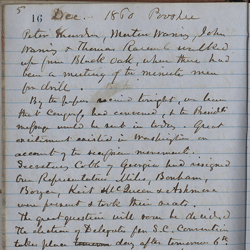 Henry William Ravenel, 1814-1887: Private Journal 1860-1861: Page 16